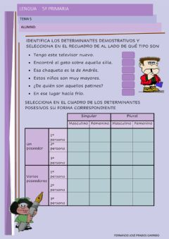 Interactive worksheet 5º lengua tema 5