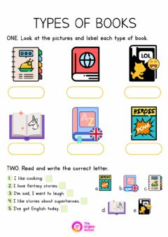 Interactive worksheet Types of Books