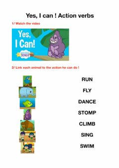 Interactive worksheet I can - Action verbs