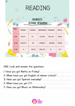 Interactive worksheet Reading Timetable