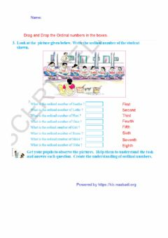 Ficha interactiva Numbers from 1 to 20 - Ordinal Numbers - 2nd class Mathematics