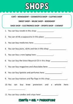 Interactive worksheet Vocabulary - Shops
