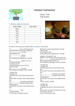 Interactive worksheet Present continuous Lemon Tree