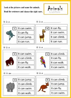 Interactive worksheet I can fly. Animals.