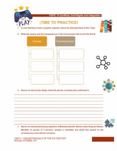 Interactive worksheet TOPIC 10 Conflicts, Civil Rights and Integration