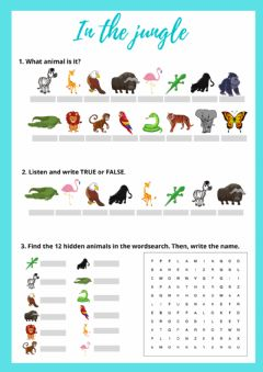 Interactive worksheet In the jungle (animals)