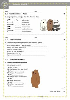 Interactive worksheet English Class A1 Unit 2 Grammar