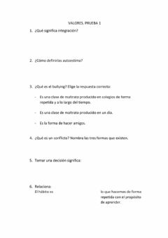 Interactive worksheet Prueba 1 valores