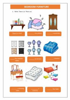 Interactive worksheet Bedroom furniture: there is and there are