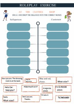Interactive worksheet shopping role play