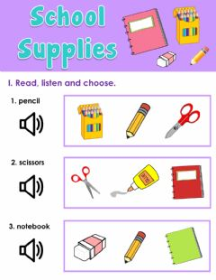 Ficha interactiva School supplies - Vocabulary review - Look, listen, and choose the correct picture.