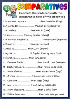 Interactive worksheet Comparatives - practice