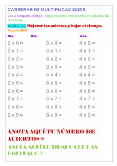 Interactive worksheet Repasar las tablas