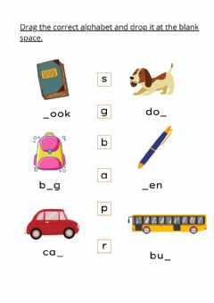 Interactive worksheet 4 Years: English Set 8 Page 2 Drag and Drop