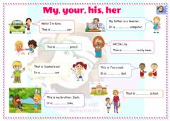 Interactive worksheet Grade 4-Unit 3-Possessive adjectives