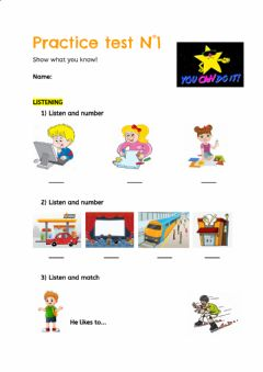 Interactive worksheet Practice test N°1