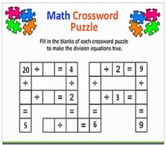 Interactive worksheet Division crossword puzzle
