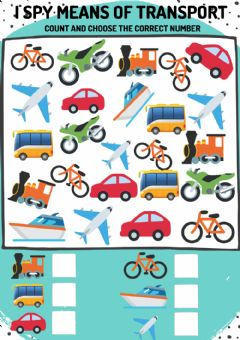 Interactive worksheet I spy means of transport: count and choose the correct number