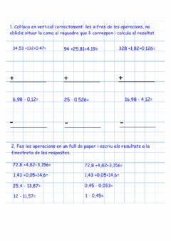 Interactive worksheet Operacions amb decimals