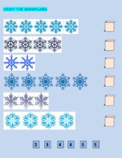 Ficha interactiva Count the Snowflakes
