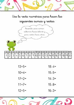 Interactive worksheet Sumas y restas 1-20