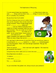 Interactive worksheet The Importance of Recycling