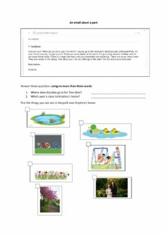 Ficha interactiva An email about a park