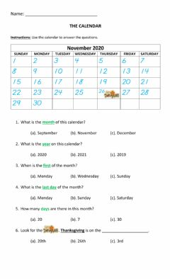Interactive worksheet The Calendar