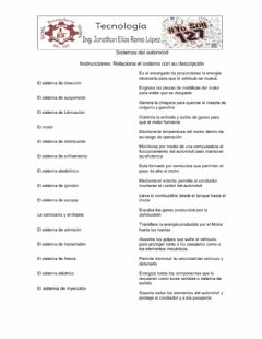 Interactive worksheet Sistemas del automóvil