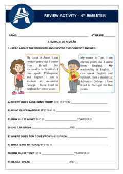 Interactive worksheet Review Activity - Unit 4 4th Grade