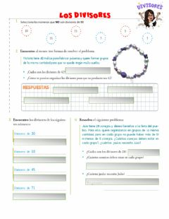 Interactive worksheet Los divisores