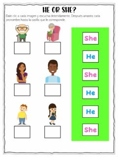 Interactive worksheet Pronouns He or She?