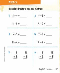 Interactive worksheet Related addition to subtraction fact