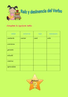 Interactive worksheet Raíz y desinencia del verbo