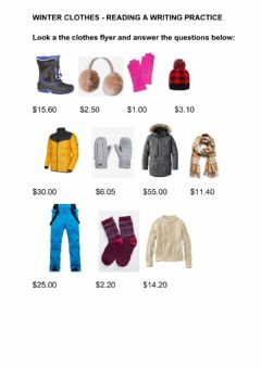 Interactive worksheet Winter clothes - read the flyer
