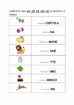 Interactive worksheet La le li lo lu