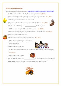 Interactive worksheet History of Thanksgiving Day