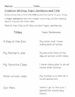 Interactive worksheet Creative Writing- Topic Sentence and Titles