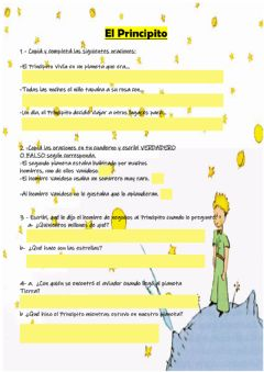 Interactive worksheet El principito comprensión