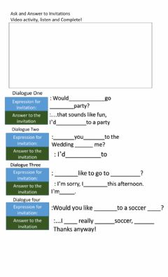Interactive worksheet Ask and answer to invitations
