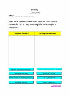 Interactive worksheet Complete VS Incomplete Sentences