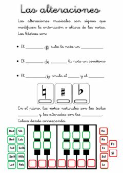 Interactive worksheet Las alteraciones musicales