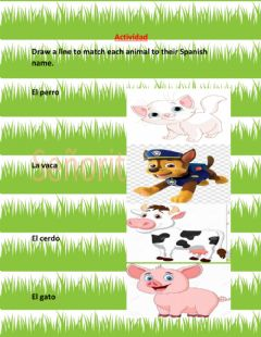 Interactive worksheet Los animales