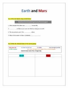 Ficha interactiva Mars & Earth
