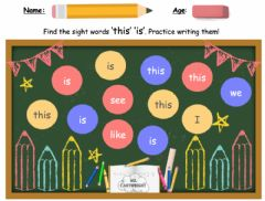 Interactive worksheet Sight words -this- and -is-