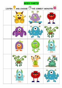 Interactive worksheet Body parts - Monsters