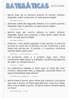 Interactive worksheet Problemas con números enteros