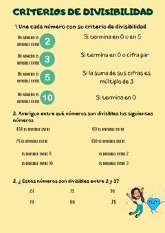Interactive worksheet Criterios de divisibilidad 4º
