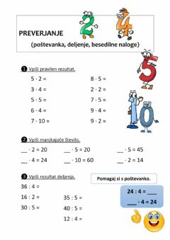 Interactive worksheet Poštevanka 2, 4, 5, 10
