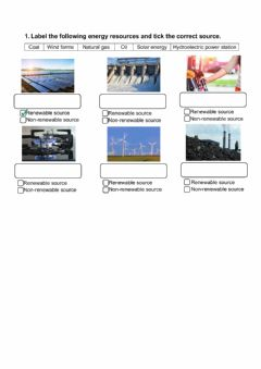 Interactive worksheet Renewable and non renewable energies